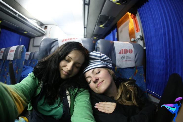 girls sleep bus