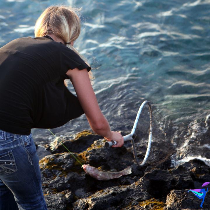Catching fish Kailua Kona, Hawaii