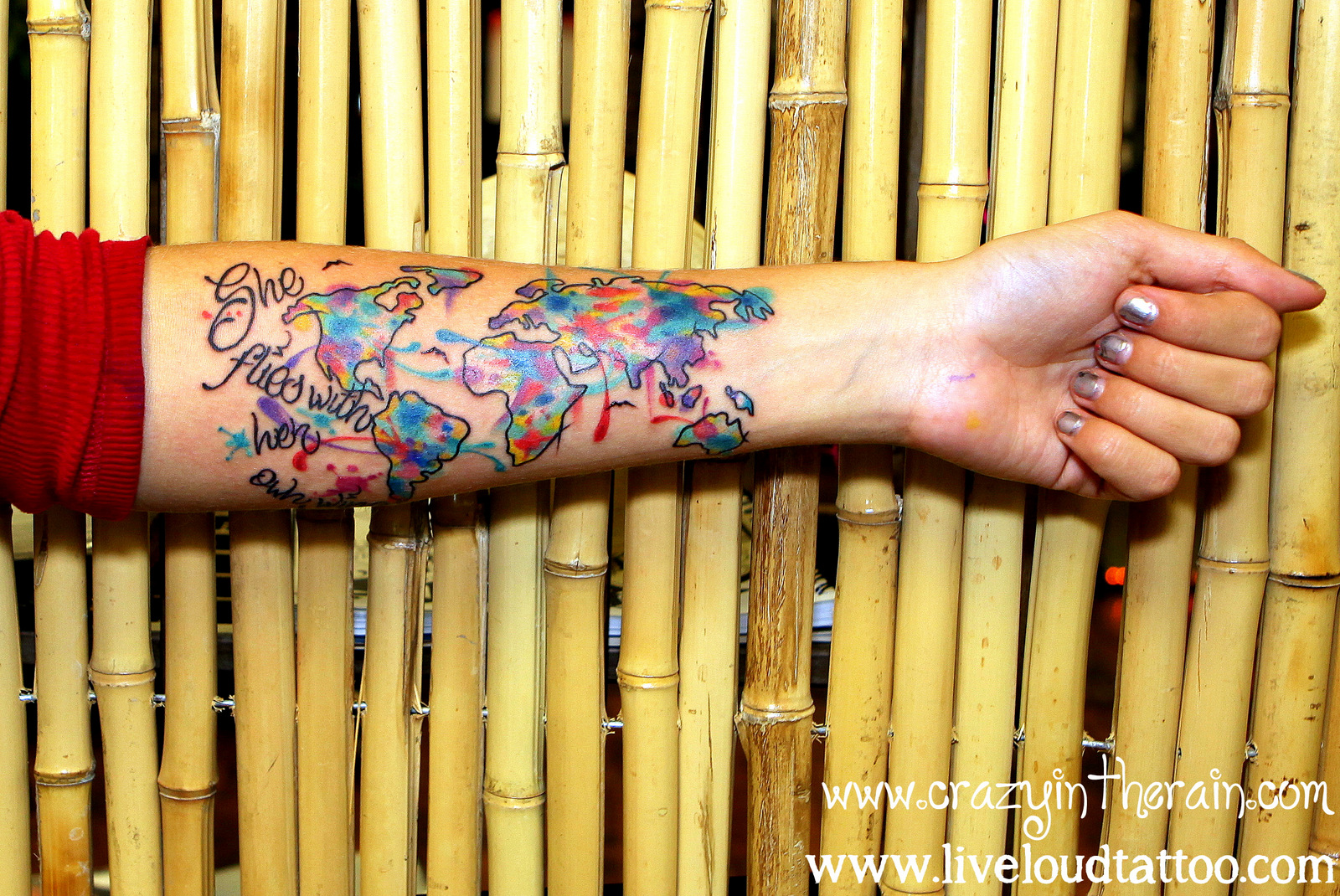 travel tattoo backpacking tattoo map tattoo continents tattoo abstract tattoo painted tattoo she flies with her own wings colorful tattoo