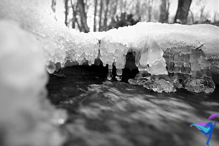 frozen stream water ice