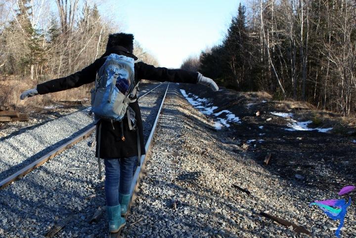 Maine Winter Railroad tracks explore