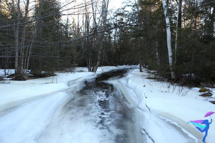 frozen stream water ice Maine