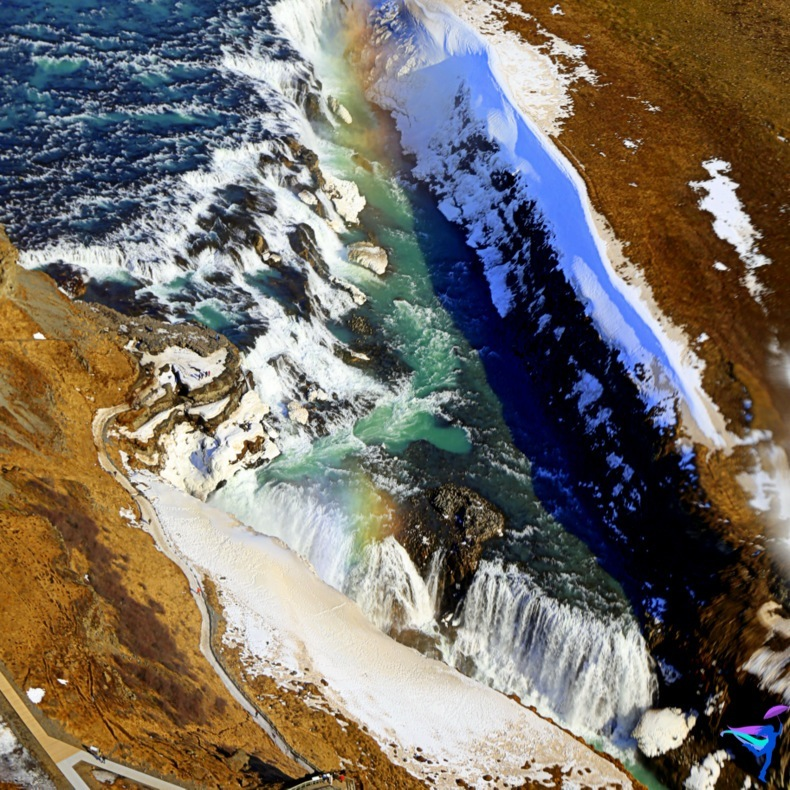Aerial Photography Iceland Waterfall