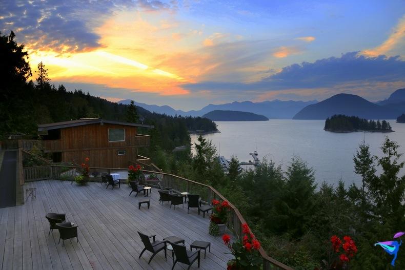 West Coast Wilderness Lodge Vacations Abroad Egmont, British Columbia Sunshine coast sunset
